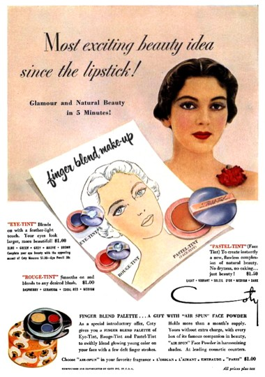 Advertising Original Print Ad 1950 Coty Makeup Finger Blend Make-up Price Remains Stable