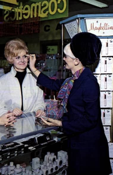 1969 Customer trying on Maybelline