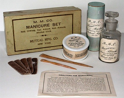 Above Early Manicure Preparations From The Mutual Manufacturing Company New York Including A Powder And Paste Along With Nail Bleach Orange Stick